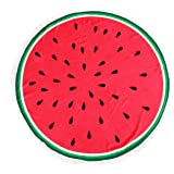 Thick Beach Towel Round Roundie Soft Thick Terry Cotton With Fringe Tassels Tablecloth Burger Pizza Printed (Watermelon)