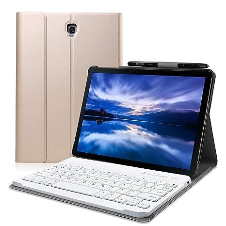 Wineecy Galaxy Tab S4 10.5 Teclado Funda(QWERTY), Funda de Cuero con Desmontable