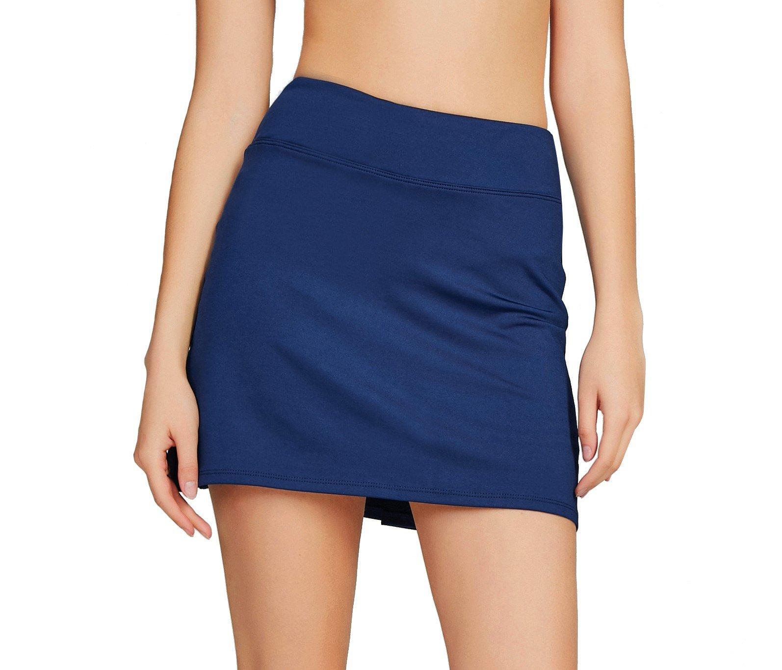Women's Casual Pleated Tennis Golf Skirt with Underneath Shorts Running Skorts d_bu xs