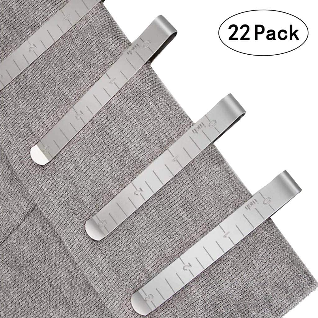 Thinktoo Quilting Supplies Set of 22 Stainless Steel Hemming Clips 3 Inches Measurement Ruler Sewing Clips for Wonder Clips Pinning and Marking Sewing Project