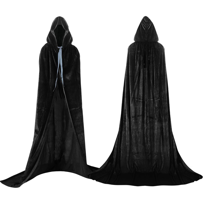 Proumhang Capa con Capucha Terciopelo Negro Largo Disfraz de Halloween para Mujeres Hombres Halloween Fiesta Disfraces 170 cm
