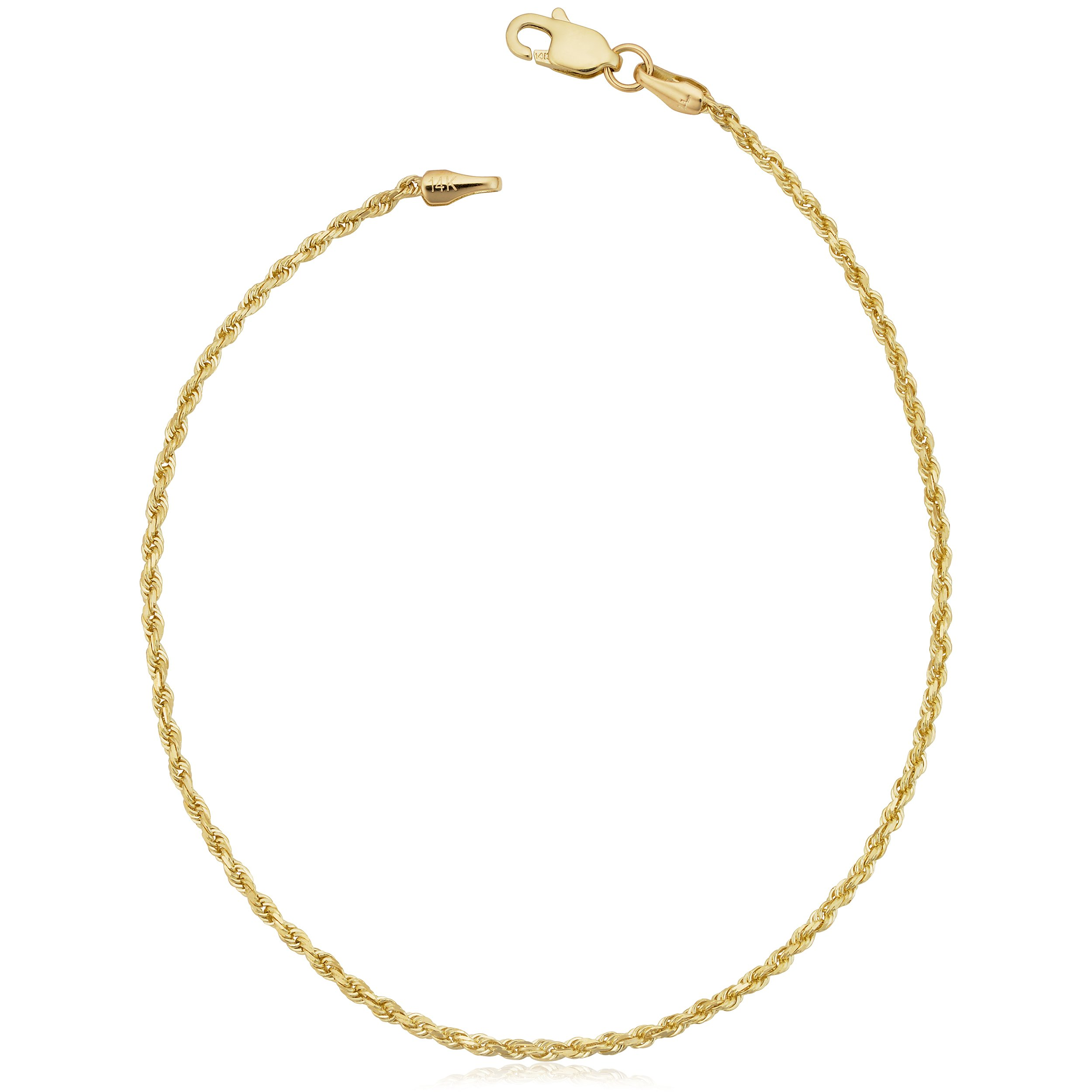 Solid 10k Yellow Gold Rope Chain Bracelet (1.5mm, 8.5 inch) by Kooljewelry