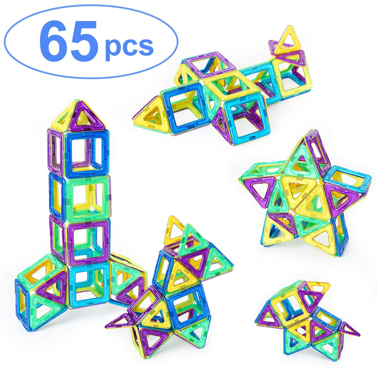 Ranphykx Magnetic Blocks With 65 Item