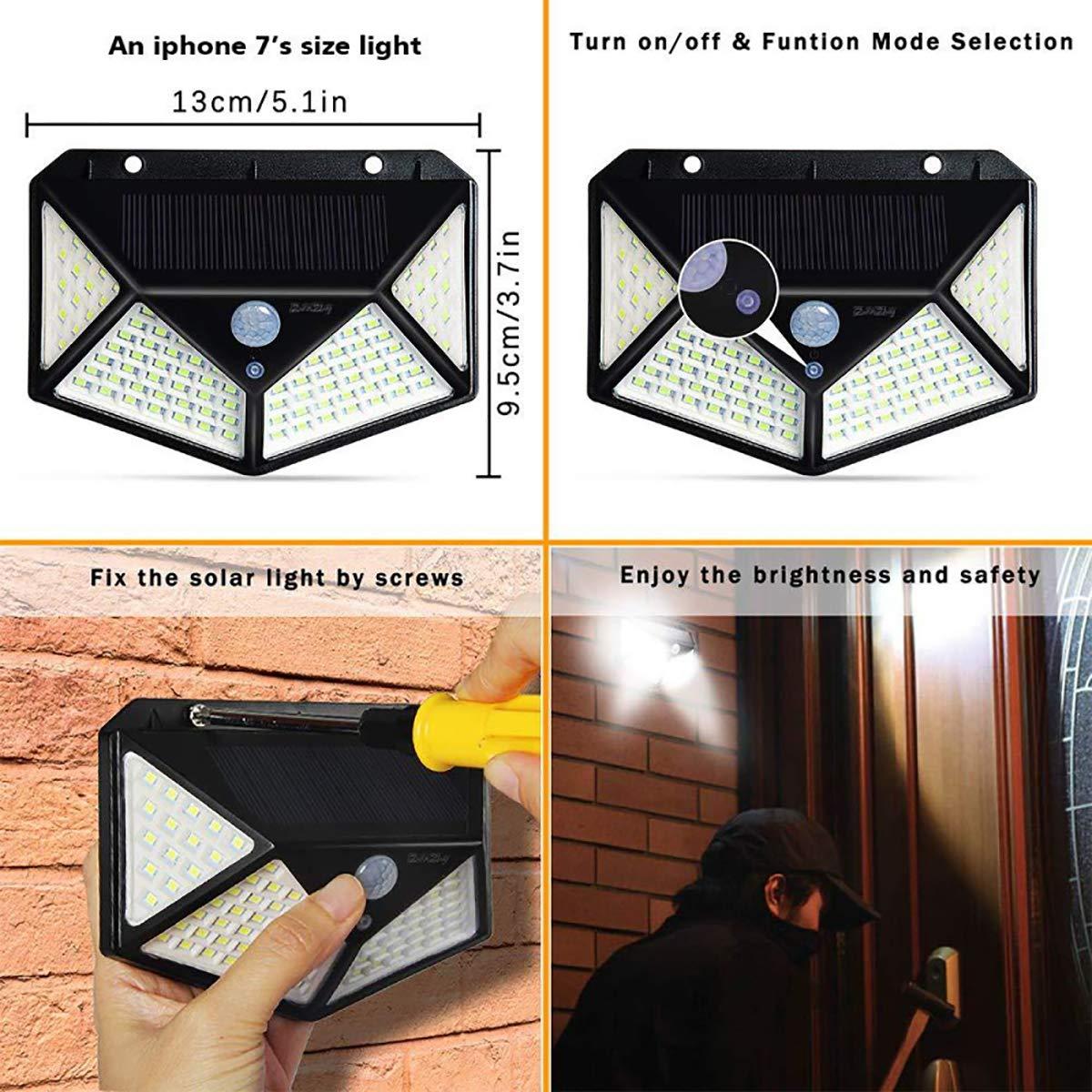 Aplique de pared solar luz de inducci/ón a prueba de agua de cuatro lados