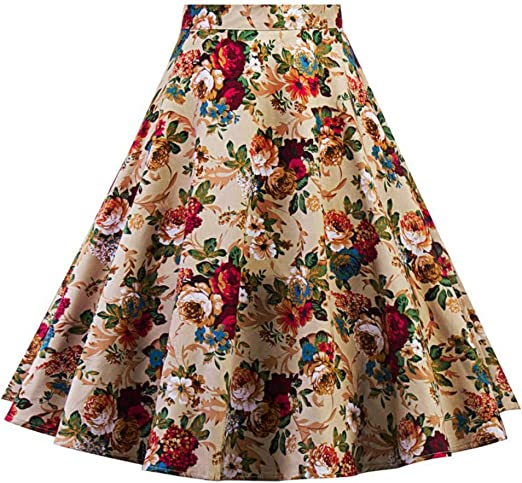 QZBTU Faldas Mujer Falda Floral Pin Up Swing Faldas, XXL: Amazon ...