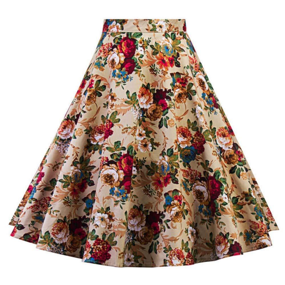 QZBTU Faldas Mujer Falda Floral Pin Up Swing Faldas, XL: Amazon.es ...