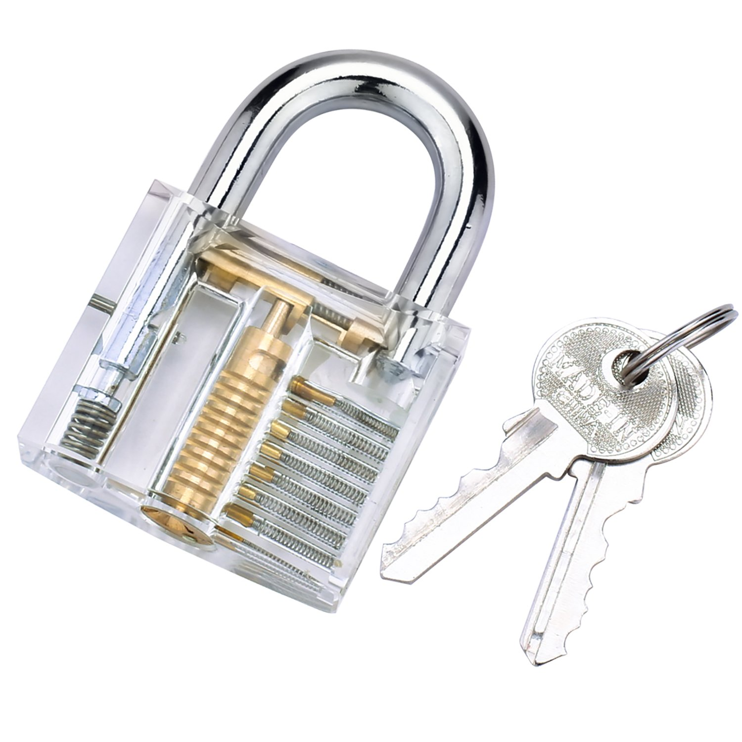BESTOPE Professional Practice Padlocks Lock Crystal Cutaway of Practice Training Skill Pick Lock for Beginners Locksmith with Two Keys
