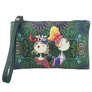 SMARTLADY Bolsos de mano de PU Cuero Moda retro Dibujos Animados Carteras Monederos (Verde): Amazon.es: Equipaje