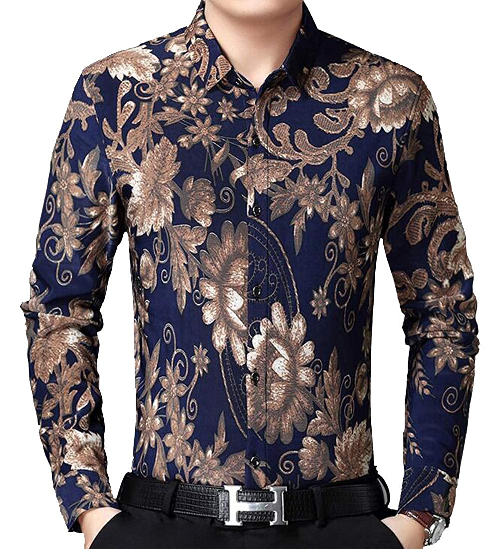 DFBB Mens Long Sleeve Slim Fit Print Fleece Lined Casual Button Down Dress Shirt