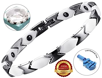 Amazon com: BisLinks® Ceramic Bracelet Gold Edge Hematite Stone