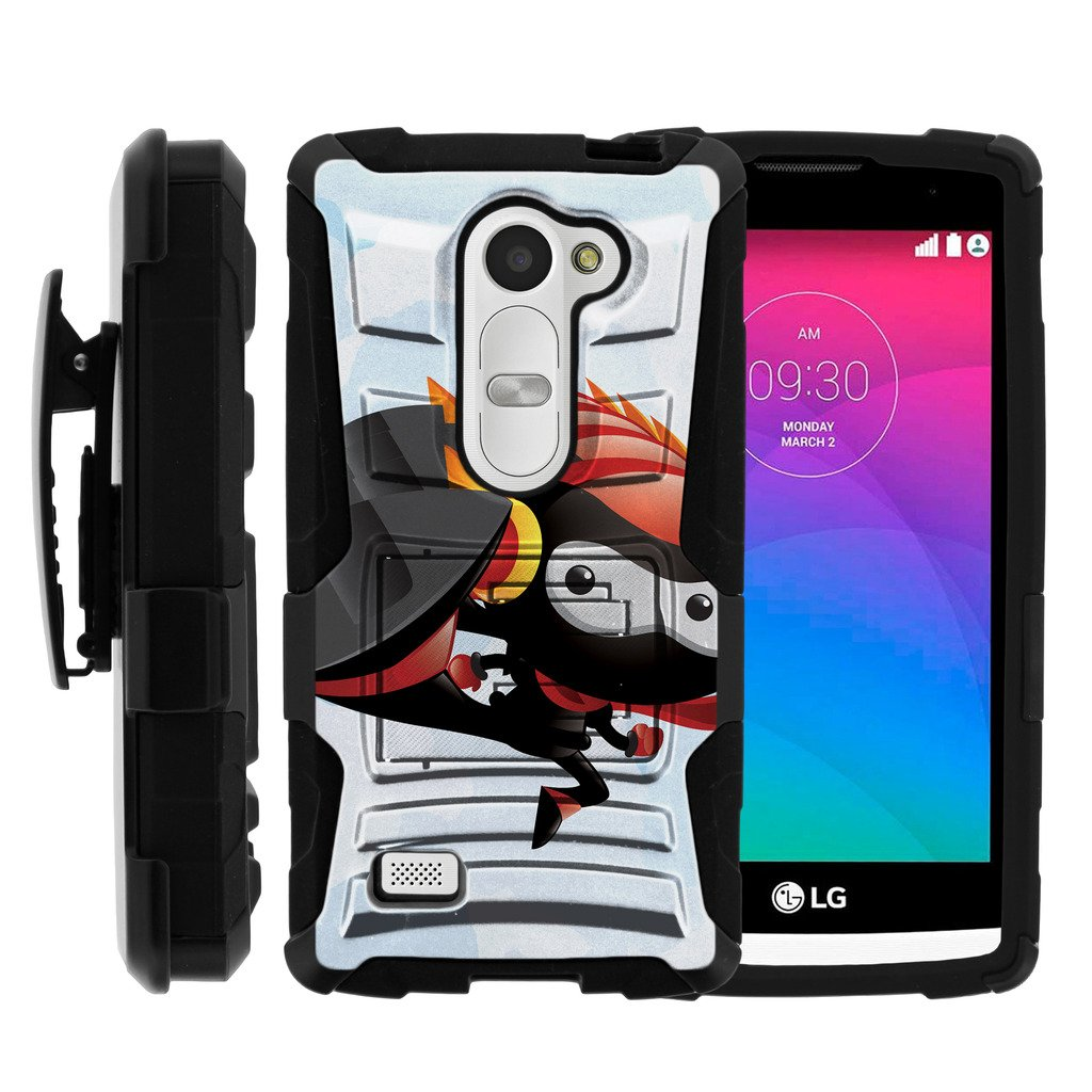 TurtleArmor   Compatible for LG Leon Case   LG Tribute 2 Case   LG Risio Case [Hyper Shock] Armor Solid Hybrid Cover Stand Impact Silicone Belt Clip Robot Android Design - Robo Ninja