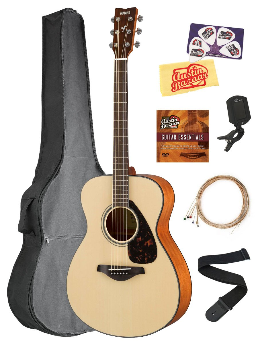 Yamaha FS800 Solid Top Small Body Acoustic Guitar - Natural Bundle with Gig Bag, Tuner, Strings, Strap, Picks, Austin Bazaar Instructional DVD, and Polishing Cloth by YAMAHA