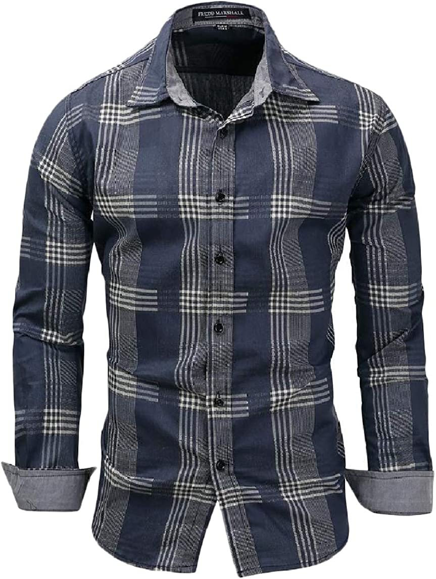 LinkShow Mens Long Sleeve Plus-Size Plaid Lapel Button Casual T-Shirts Shirt