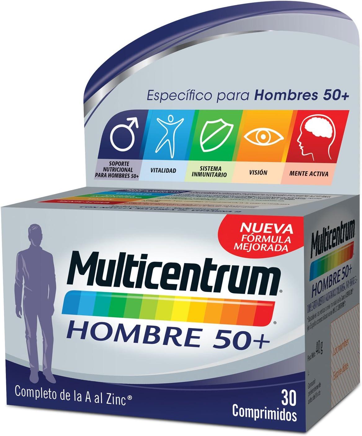Multicentrum Hombre 50+ Complemento Alimenticio con 13 Vitaminas y 11 Minerales, Con Vitamina B1, Vitamina B6, Vitamina B12, Hierro, Vitamina D, Vitamina C | 30 Comprimidos