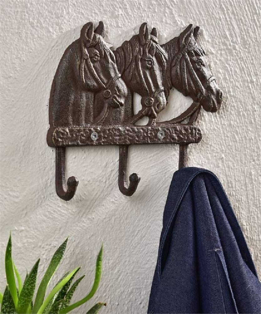 Giftcraft Horses Heads Design Wall Decor with 3 Hooks
