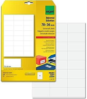 99,1 x 42,3 mm SIGEL LA221 Abl/ösbare Etiketten wei/ß abgerundete Ecken 300 Etiketten = 25 Blatt
