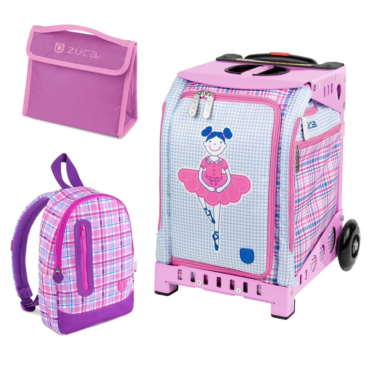 Zuca Mini Ballerina Bag with Frame Snack Pouch and Explorer Backpack (Pink Frame/ Pink Backpack)