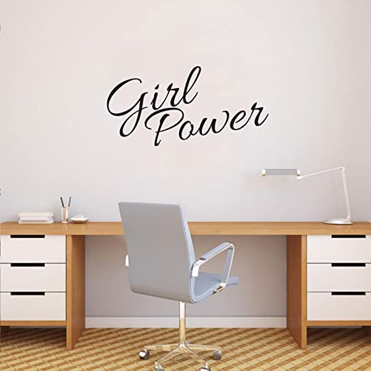 Amazon Com Vinyl Wall Art Decal Girl Power Inspirational Women S Quotes 15 X 30 Home Decor Bedroom And Office Work Motivational Women S Words Sayings Removable Sticker Decals Home Kitchen