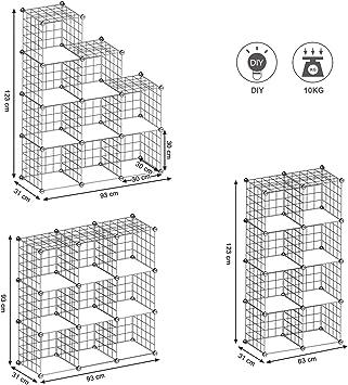 SONGMICS Armario Modular de Malla de Hierro Armario de Almacenaje con 9 Cubos Estantería Modulable Ajustable Organizador Multiuso para Libros Ropa Zapatos para Baño Habitación Infantil Sala LPI115W: Amazon.es: Juguetes y juegos