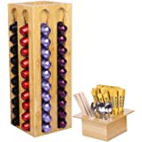 Bamboo Coffee Pod Holder Carousel Stand Capsules Organizer Rack Only Compatible with Nesspresso (1.45in) Pods
