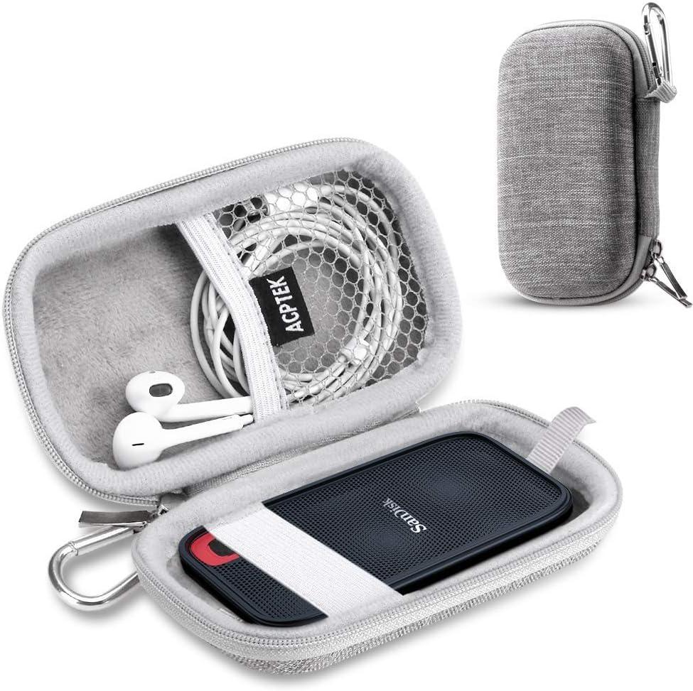 AGPTEK Estuche para Disco Duro para SanDisk 250GB/500GB/1TB/2TB EVA Funda Portable con Bolsa de Malla y Banda Elástica, Ideal para Sandisk ssd, Auriculares, U Disco y Otros Accesorios, Gris: Amazon.es: Electrónica