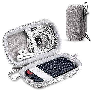 AGPTEK Estuche para Disco Duro para SanDisk 250GB/500GB/1TB/2TB EVA Funda Portable con Bolsa de Malla y Banda Elástica, Ideal para Sandisk ssd, ...