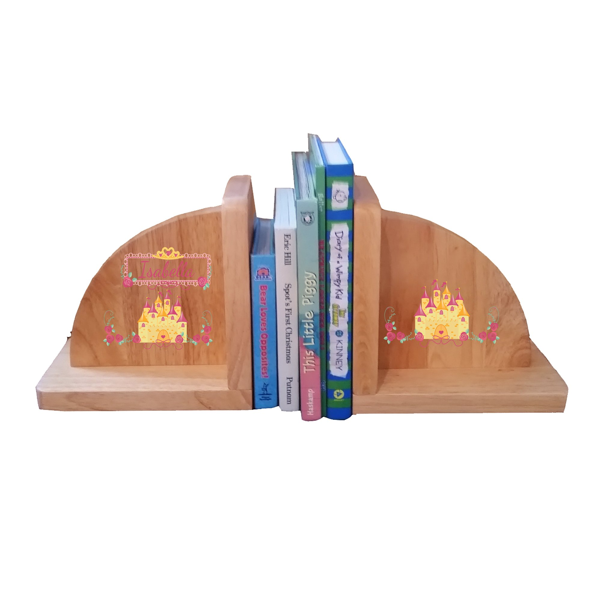 Personalized Beautys Castle Natural Childrens Wooden Bookends