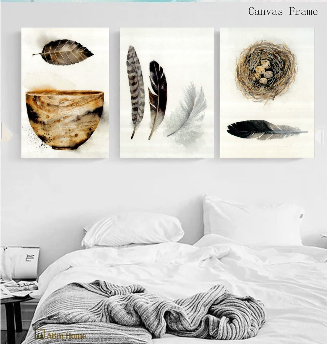 ABM Home - Juego de 3 figuras de nido de pájaros y plumas - Cuadro de pared grande, estilo vintage, lienzo enmarcado, póster grande (marco de lona), diseño de pájaros