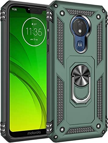 , Motorola Moto G7 Optimo Ring Series Phone Case for Tracfone, Straight Talk, Total Wireless Black Rotating Metal Ring Cover with Kickstand for Motorola Moto G7 Optimo XT1952DL, XT1952