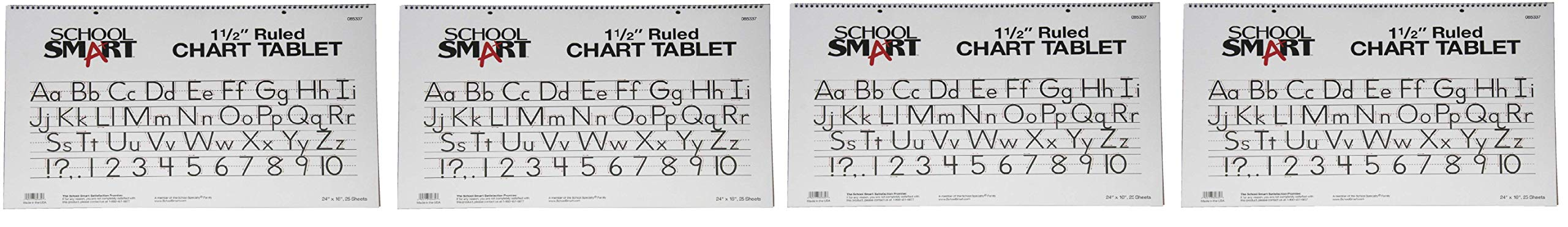 School Smart Chart Tablet, 24 x 16 Inches, 1-1/2 Inch Skip Line, 25 Sheets (Fоur Расk) by School Smart