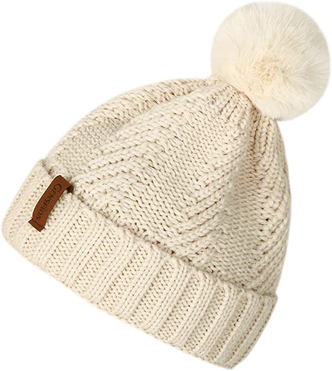 Women S Beanie Hats Knit Thick Fleece Lined Chunky Chenille Snow Hats Girls Winter Soft Warm Ski Baggy Cap