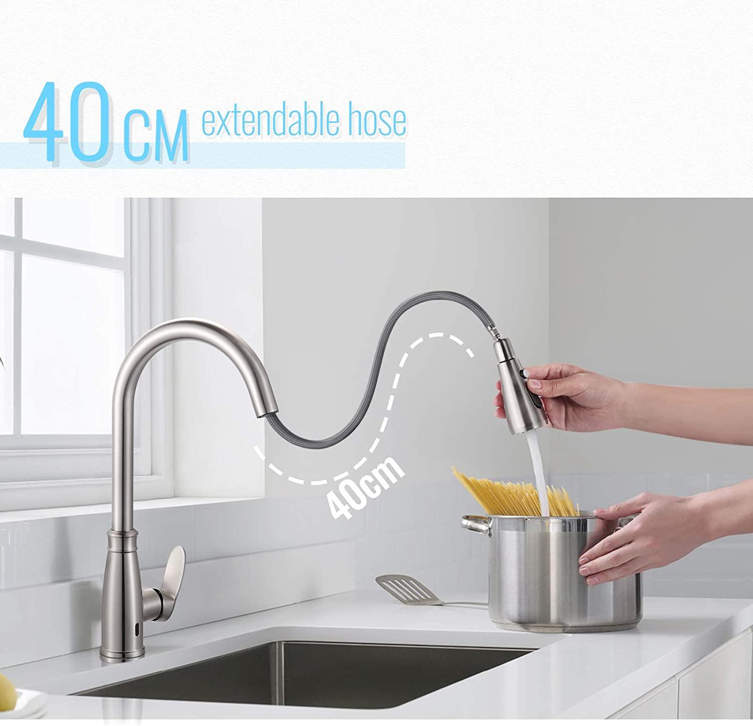 SNAN Single Handle High Arc Automatic Sensor Kitchen Sink Faucet with 3 Modes Brushed Nickel Sensor Sink Faucet SKFS02 Touchless Kitchen Faucet with Pull Down Sprayer