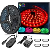 Minger MusicPro RGB LED Light Strip 5M 16.4 Ft IP65 Waterproof 150 LEDs Flexible Music Rope Light with Power Supply, Color Changing by Sync to Music