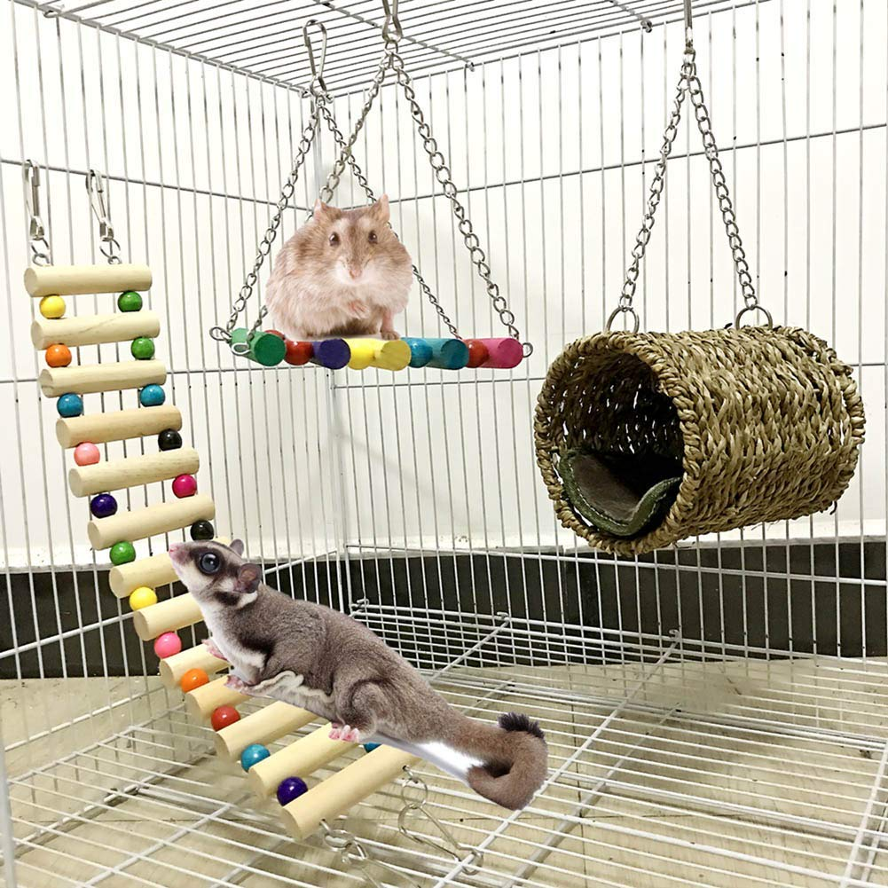 Lurowo Bird Parrot Toys,Bird Swing Toys Hanging Colorful Swing Chewing Toy Bells,Ladder Swing for Small Parakeets Cockatiels, Conures, Macaws, Parrots, Love Birds, Finches (3 Pcs) by Lurowo