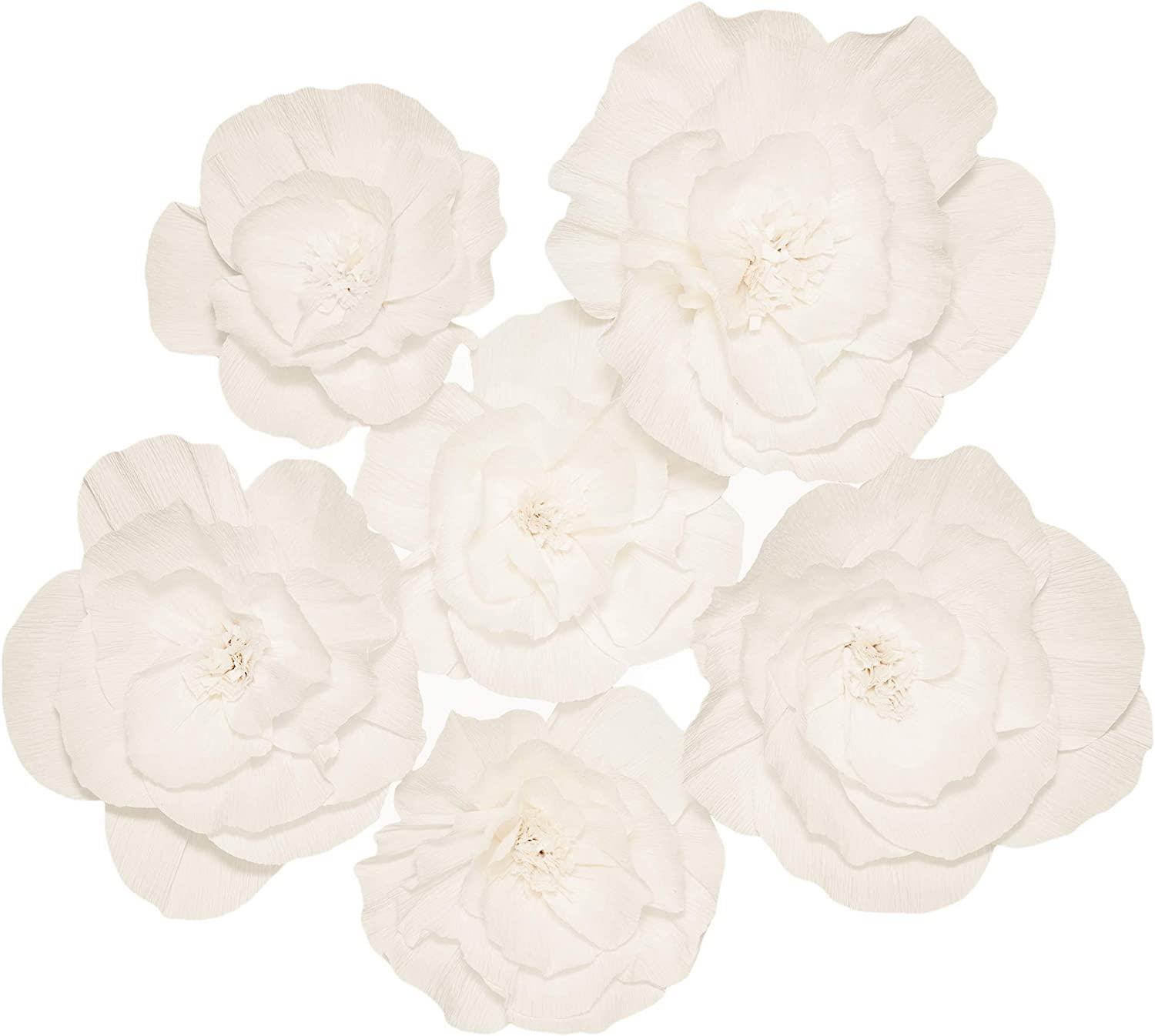 Paper Flowers Decorations for Wall - Paper Wall Flowers - Flower Wall Decorations - Large Flowers Decorations for Wall - Paper Flower Wall - Big Paper Flowers Decorations for Wall (6Pcs)