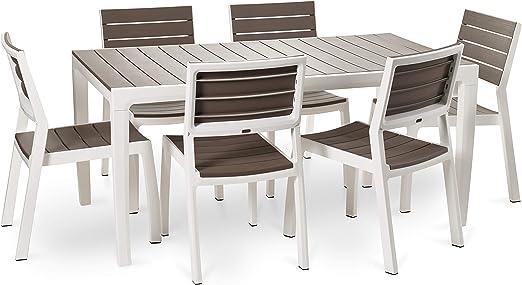 Keter - Set de Mesa y sillas Harmony (Mesa + 4 sillas + 2 Sillas con reposabrazos), Color Beige/Topo: Amazon.es: Jardín