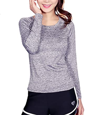 Camisetas Deportivas Mujer Fitness Manga Larga Cuello ...