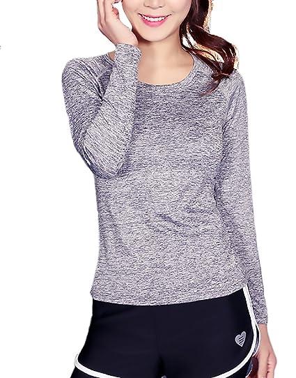 Camisetas Deportivas Mujer Fitness Manga Larga Cuello Redondo Slim Fit Casual para Gym Running Yoga Sport T-Shirt De Secado Rápido: Amazon.es: Ropa y ...