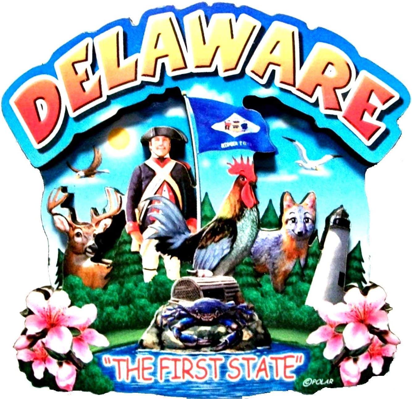 Delaware State Montage Wood Fridge Magnet 2
