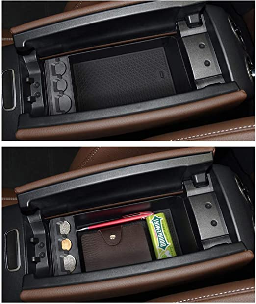 Secondary Storage Box Insert Glove Compartment Car Accessories Black Center Console Organizer Secondary Storage With Non-Slip Mat With Superb B8 2015-2019