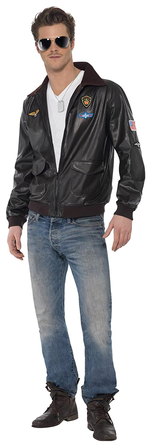 Smiffy's Men's Top Gun Bomber Jacket, Top Gun, Colour: Brown, Size ...