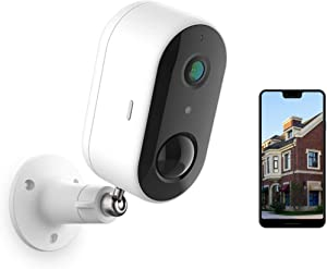 Wireless Outdoor Security Camera, Battery Powered WiFi Home Security Camera System Indoor/Outside, Night Vision, 1080P, Motion & Sound Detection, 2 Way Audio, IP65 Waterproof, Work with Alexa