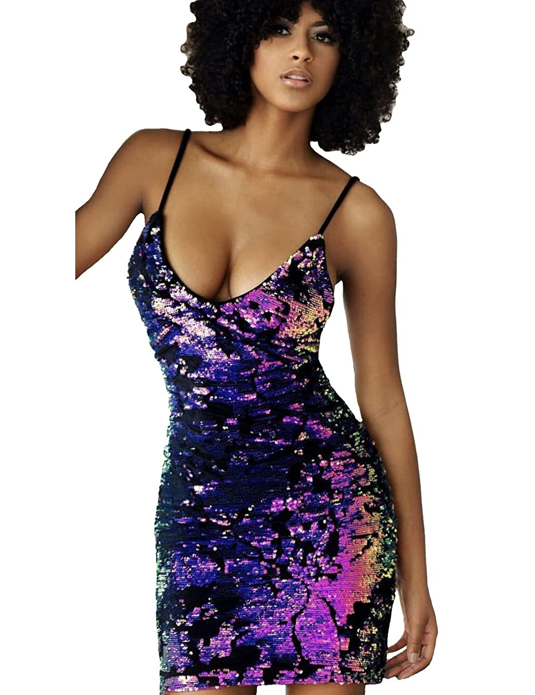 63e6c3c149 Flattering Sparkling Sexy Deep V Neck Cocktail Party Clubbing Dress with  the Brand Name  LVKIRING