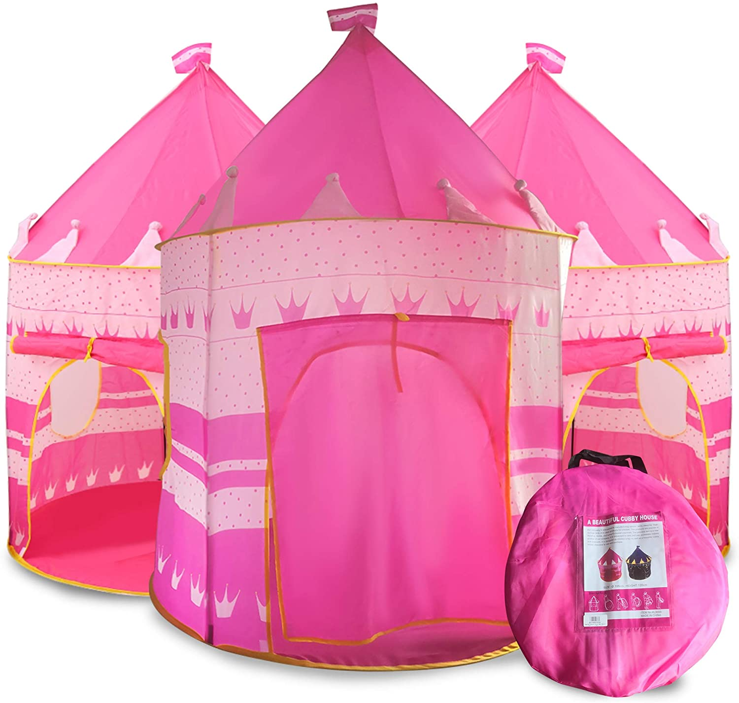Princess Castle Play Tent for Kids, Princess Castle Dollhouse That conveniently Folds in to a Carrying Case, Perfect Foldable Pop Up Pink Childrens Play Tent/House Toy for Indoor & Outdoor Use