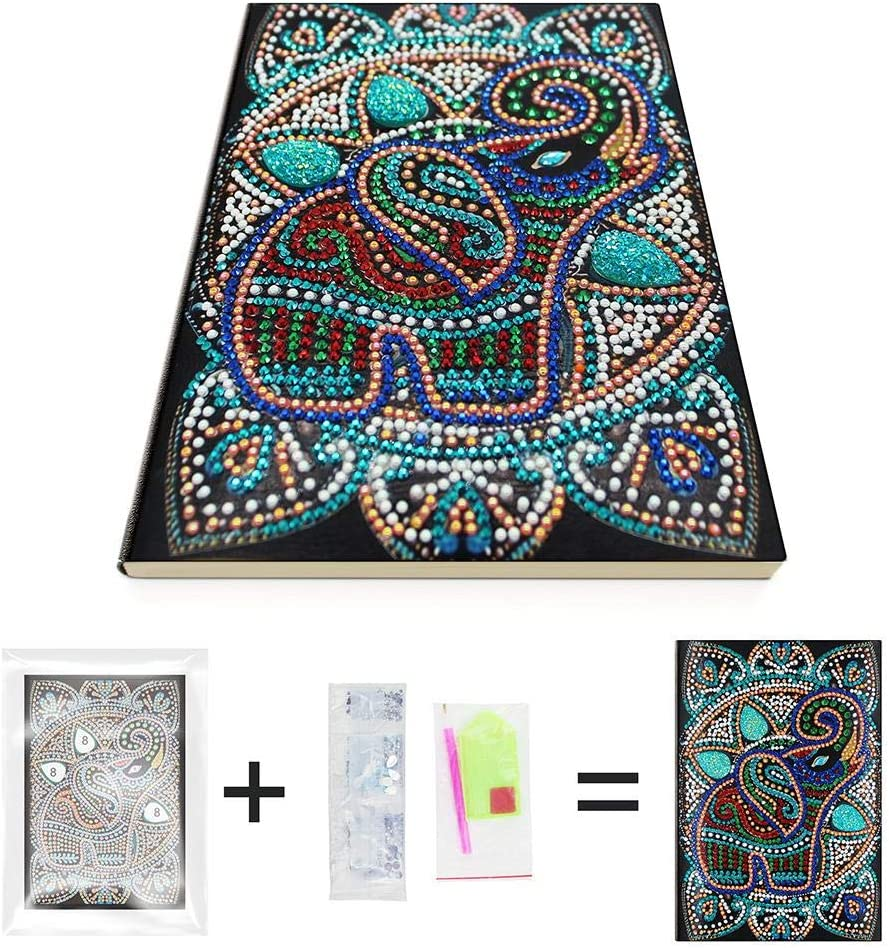 DIY Elephant Special Shaped Diamond Painting 50 Pages A5 Notebook Notepad