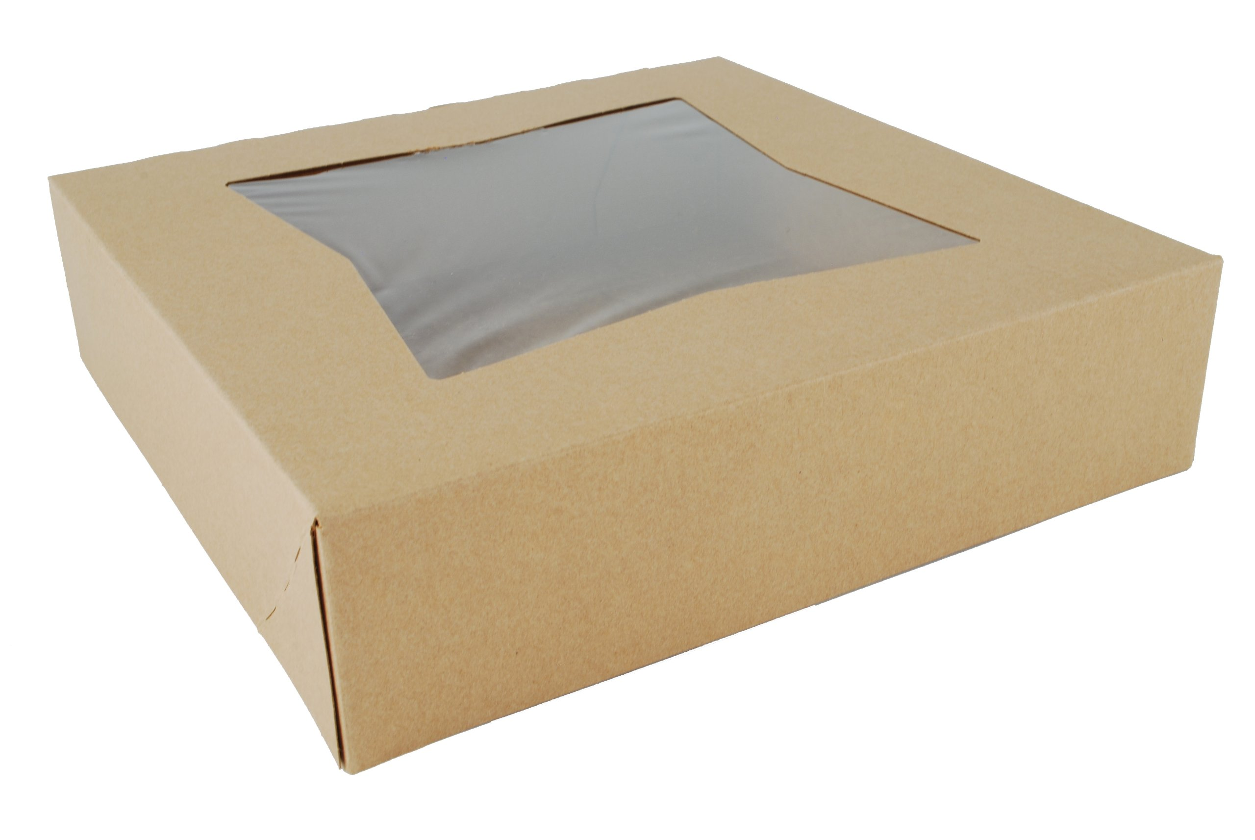 Southern Champion Tray 24233K Kraft Paperboard Window Bakery Box, 10'' Length x 10'' Width x 2-1/2'' Height (Case of 200)