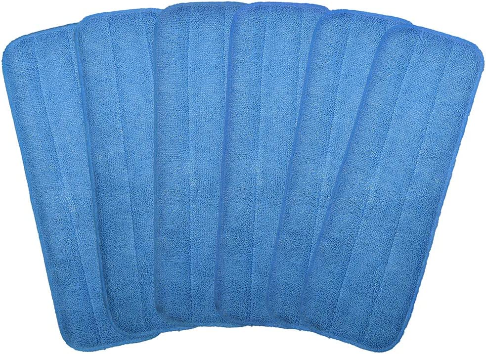 """Microfiber Replacement Mop Pad, 18"""" x 6""""Wet & Dry Home & Commercial Cleaning Refills, Reusable Floor Mop Pads (6 Pack)"""