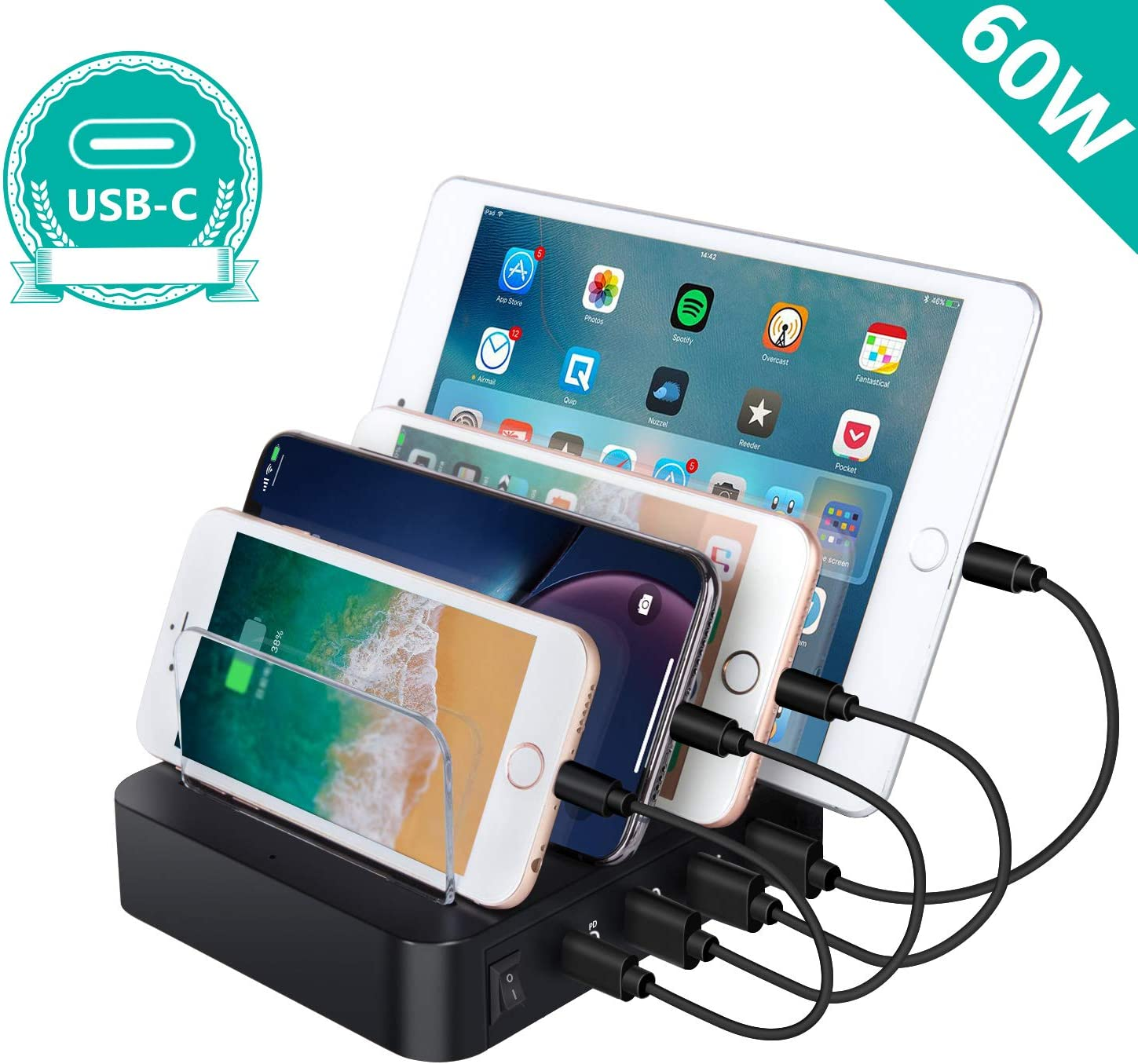 USB Charging Station, Premium 60W 4-Port Desktop Charger Organizer With 45W Power Delivery Port For USB-C Laptops, MacBook Pro/Air, iPad Pro, S10, And 3 USB Ports For iPhone 11/Pro/Max, S9/S8 and More