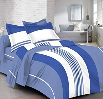 deb65c997f8 HighLife 120 TC Ahmedabad Cotton 1 Bedsheet with 2 Pillow Covers -All New  Bright Blue  Amazon.in  Home   Kitchen