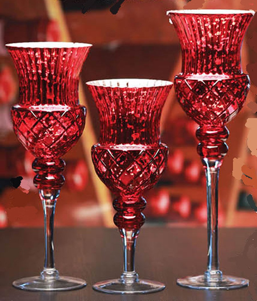 Elegant Fusion Rouge Boudoir Red Hurricane Candle Holders Set of 3